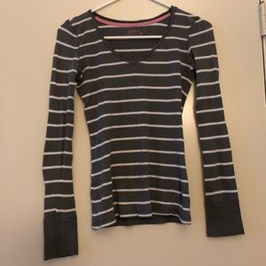 Striped Long Sleeve V-Neck